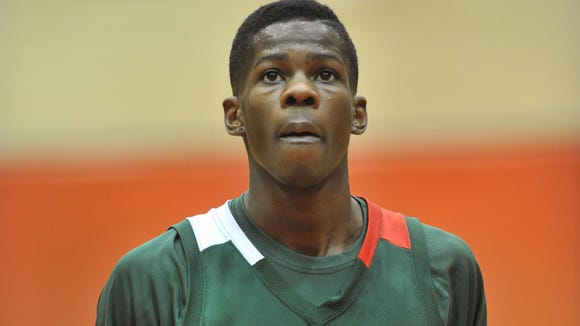 Lawrence North's Eron Harris goes to the foul line in the first half, as Park Tudor defeated Lawrence North 51-45 in a first round game of the Marion County Boys Basketball Tournament  played at North Central High School Tuesday January 10, 2012.  Joe Vitti / The Star