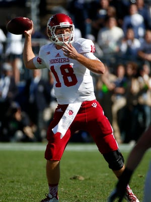 Indiana quarterback Danny Cameron (18) passes during the second half of an NCAA college football game in State College, Pa., Saturday, Oct. 10, 2015. Penn State  won 29-7. (AP Photo/Gene J. Puskar)