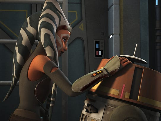 Ahsoka Tano (voiced by Ashley Eckstein) is back alongside