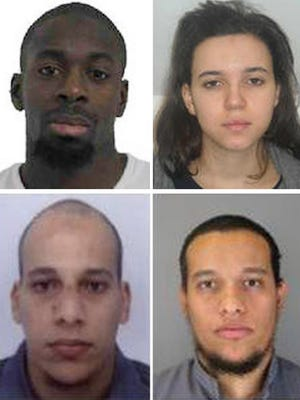 "Amedy Coulibaly, top left, and Hayat Boumeddiene, top right, are suspected in a shooting attack Jan. 8 in Montrouge, France. Cherif Kouachi, 32, bottom left, and his brother Said, 34, were suspected in the shooting attack at the satirical French newspaper ""Charlie Hebdo."""