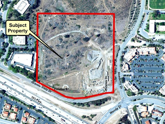 Aerial photo of the Newbury Park site of a planned