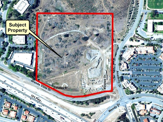 Aerial photo of the Newbury Park site of a planned Lowe's, and LA Fitness.