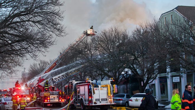 Fire on Main St in Ocean Grove on February 6, 2015.