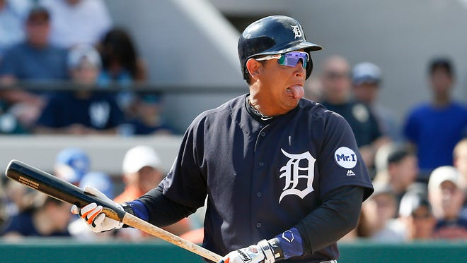 Detroit Tigers first baseman Miguel Cabrera makes a face after swinging at a bad pitch against the New York Yankees on March 4, 2017.
