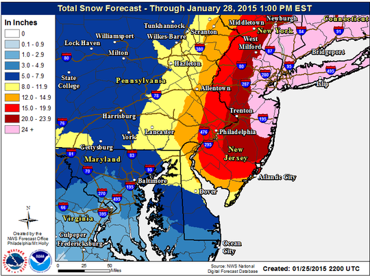 Graphic showing forecast of total snow accumulation