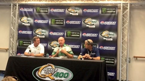 From left: Jim McCormack, vice president of Quaker State North America, Larry McReynolds, former crew chief, and Mark Semindinger, general manager of Kentucky Speedway.