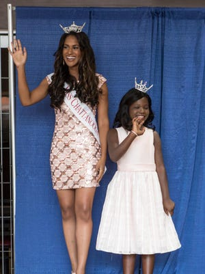 Miss Chattanooga Stephanie McKain stands with her Iris Princess Shyla Phinnessee at the 2015 Miss Tennessee Meet and Greet on Sunday at Old Hickory Mall.