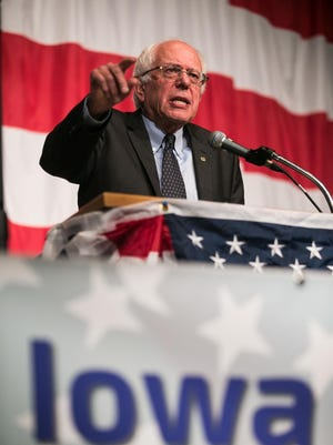 Bernie Sanders speaks during the Iowa Democratic Wing Ding at the Surf Ballroom in Clear Lake on Friday.