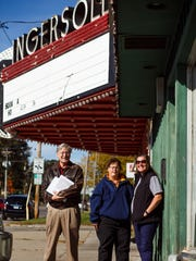 From left to right, Mark Siegfried, Mary Whisenand, and Colleen Kinney, all of Des Moines stand by the Ingersoll Theater at 3711 Ingersoll. The theater which opened in 1939 is on the endangered buildings list put out by the Des Moines Rehabbers Club and residents of the North of Grand neighborhood are fighting with the owner to rehab the historic building.