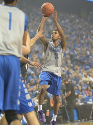 Tyler Ulis shoots during the University of Kentucky Big Blue Madness at Rupp Arena in Lexington, Ky., on Friday, October 16, 2015. Photo by Mike Weaver