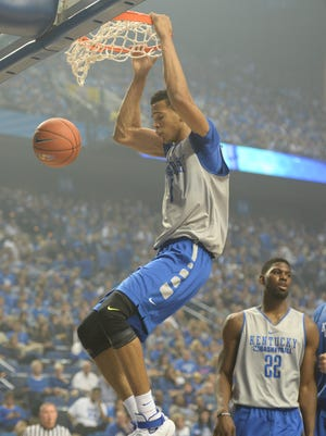 Skal Labissiere dunks during the University of Kentucky Big Blue Madness at Rupp Arena in Lexington, Ky., on Friday, October 16, 2015. Photo by Mike Weaver