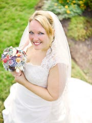Christy Whisman wore an A-line gown from David's Bridal