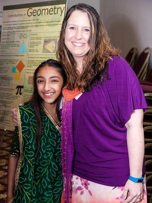 Kristen Wertz, teacher at North Hills Elementary School, is joined by student Anjali Barot.
