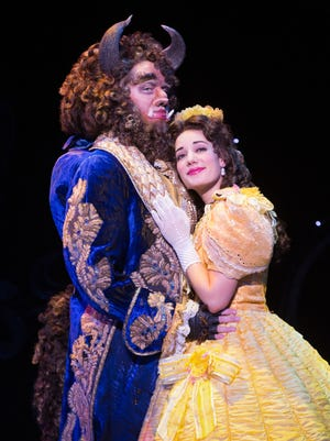 """Sam Hartley as the Beast and Brooke Quintana as Belle in NETworks' production of """"Disney's Beauty and the Beast,"""" showing through Sunday at TPAC."""