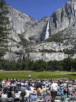 President Barack Obama speaks to media and invited guests in Yosemite National Park on June 18, 2016.