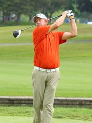 Bart Bryant, the 2013 Dick's Sporting Goods Open champion, tees off during Friday's first round.