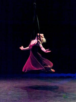 """Aerial dance company FALL performs """"The Night Girl"""" at the 2015 Sideshow Fringe Festival."""