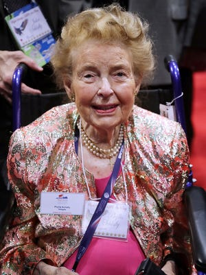 Phyllis Schlafly, president of the Eagle Forum, is wheeled across the floor during the second day of the Republican National Convention at the Quicken Loans Arena on July 19, 2016, in Cleveland. Schlafly died Monday, Sept. 5, 2016, in St. Louis at the age of 92.