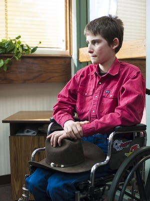 Caleb Oriet, an eighth-grade home-school student, uses a wheelchair due to dysautonomia, a malfunction of the automatic nervous system that causes Caleb pain, dizziness and even loss of consciousness whenever he stands. However, recently a change in medication has helped him regain his ability to walk alone for limited periods without passing out.