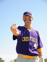 Crisfield High School pitcher Caleb Evans will be playing