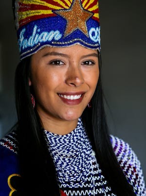 Mariah Jordan Sharpe, wearing her tribal and pageant attire, is the 2017-18 Miss Indian Arizona.