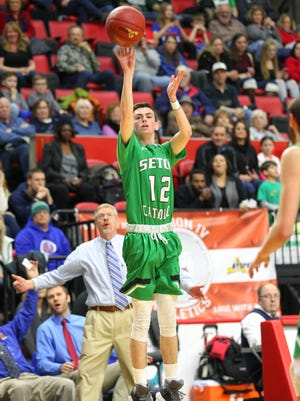 Tommy Dempsey takes a shot for Seton Catholic Central Saturday against Owego.
