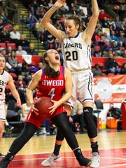 Anna Felice looks for a shot for Owego as Mara Donnelly