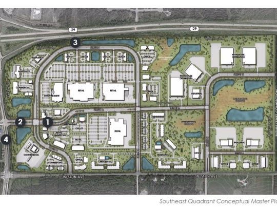 A rendering shows the area of a proposed new $150 million development at State 29 and Camp Phillips Road in Weston.