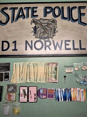 State Police assigned to the Norwell barracks found a number of different drugs in a woman's car in Hanover.
