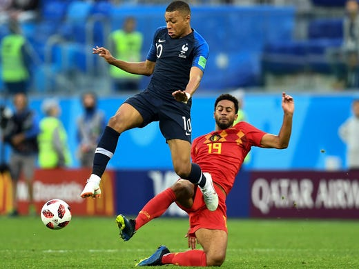 France forward Kylian Mbappe attempts to move the ball
