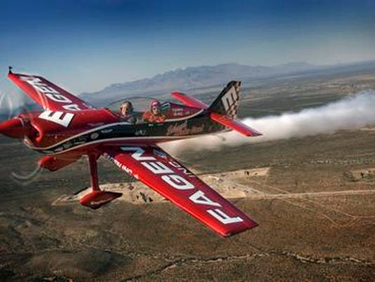 Greg Poe piloted his MX2 Wednesday in preparation for the Amigo Airsho Saturday and Sunday at Biggs Army Airfield. Mark Lambie/EL Paso Times