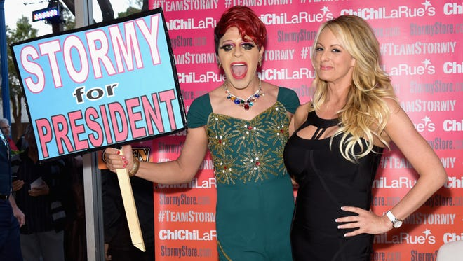 Pop artist Sham Ibrahim and Stormy Daniels attend her fan meet and greet on May 23, 2018 in West Hollywood, Calif.