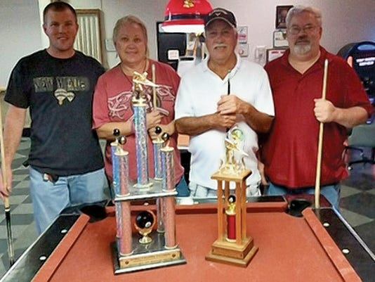 From left to right, first place winners Justin McIntosh and Lori Durrett and second place winners (Dog) Smith and Doug Beard.