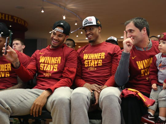 Iowa State basketball players Nick Weiler-Babb, Darrell Bowie and head coach Steve Prohm with his son Cass pose for a photo before the NCAA tournament selection show on Sunday, March 12, 2017, at Johnny's in Hilton Coliseum. The Cyclones will face Nevada in the first round of the NCAA tournament on March 16, in Milwaukee.