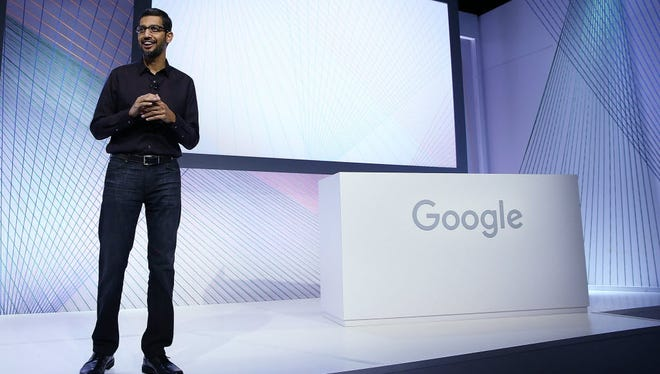 Google CEO Sundar Pichai speaks during a Google media event in September.