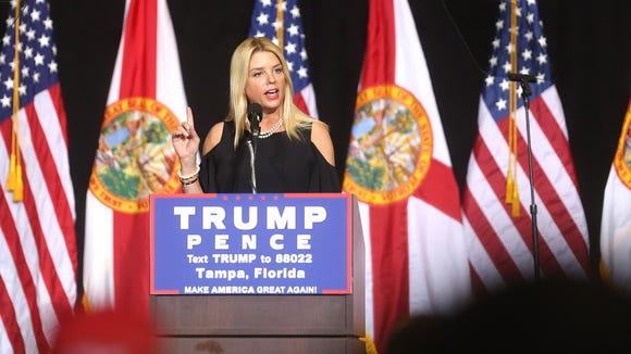 Florida Attorney General Pam Bondi speaks to Donald