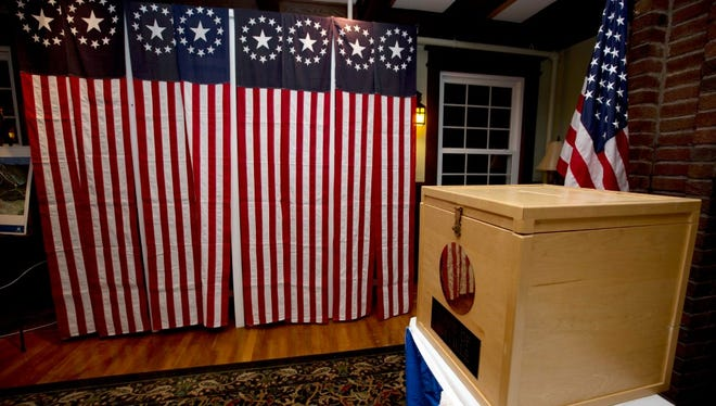 In this Nov. 7, 2016 file photo, a ballot box is set for residents to vote at midnight in Dixville Notch, N.H.