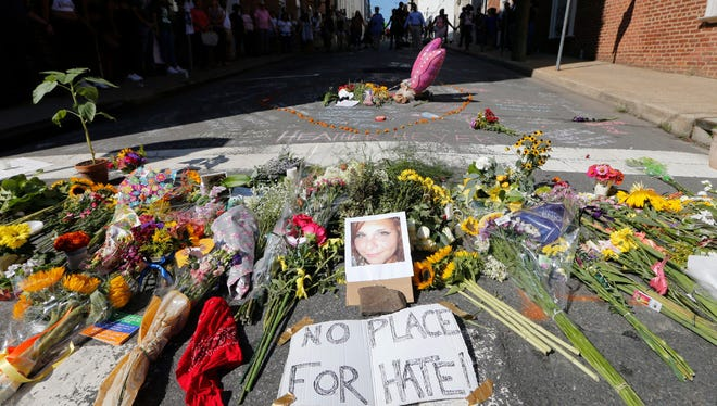 A flower memorial dedicated to Charlottesville victim Heather Heyer.