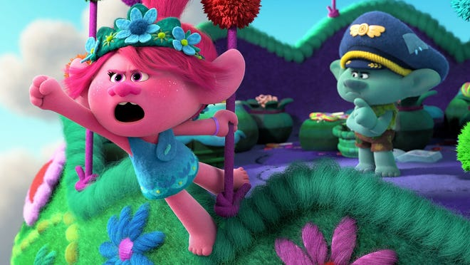 "Poppy and Branch (voiced by Anna Kendrick and Justin Timberlake) are back in the movie ""Trolls World Tour."""