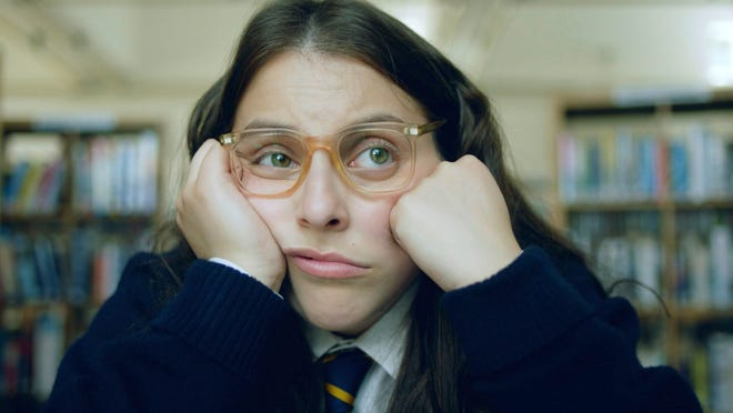 "Beanie Feldstein in a scene from the comedy ""How to Build a Girl."""