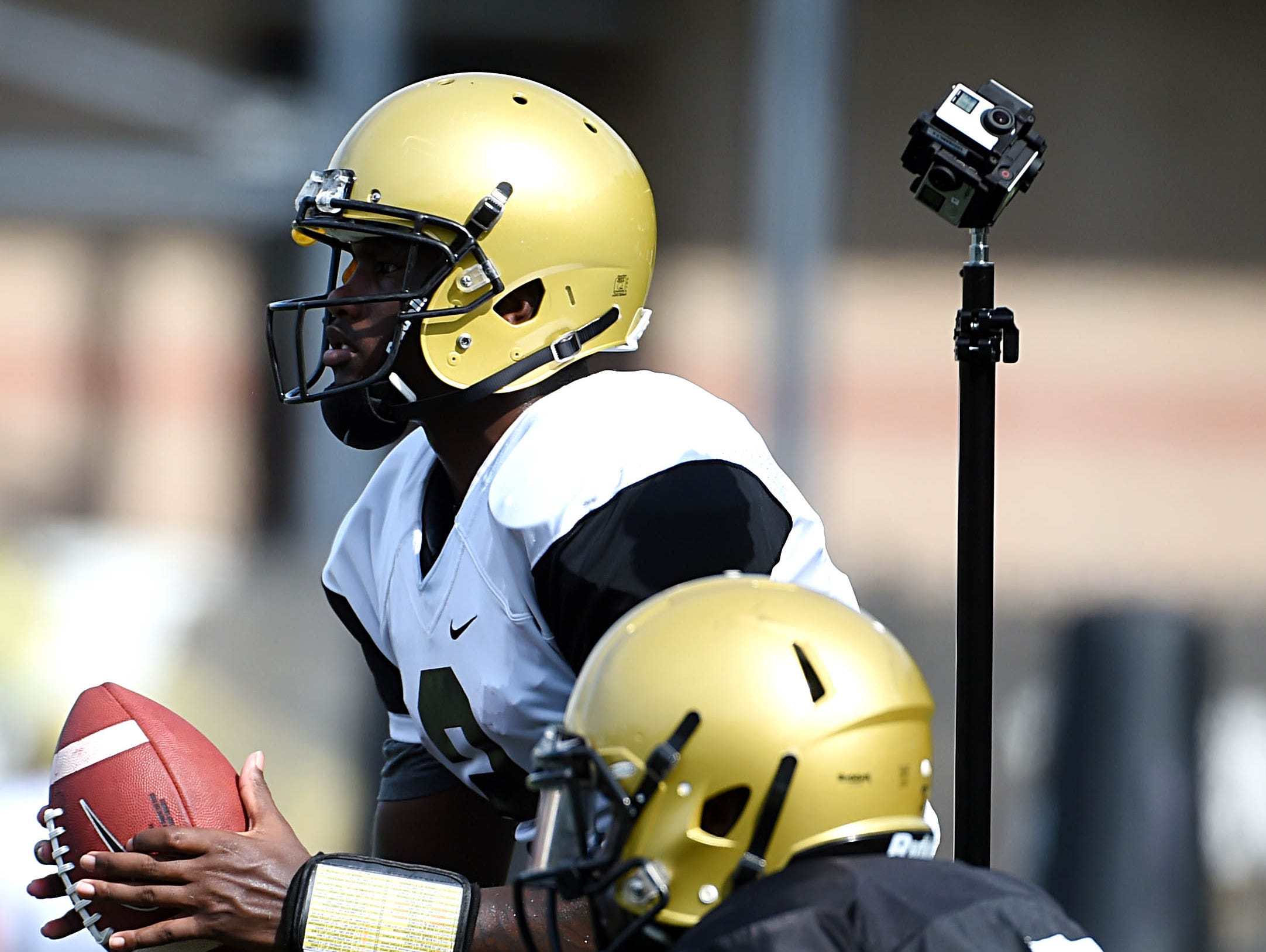 Six GoPro cameras mounted together records video of Vanderbilt QB Johnny McCrary (2) during practice on Monday August 10, 2015. The cameras are capturing video 360°.