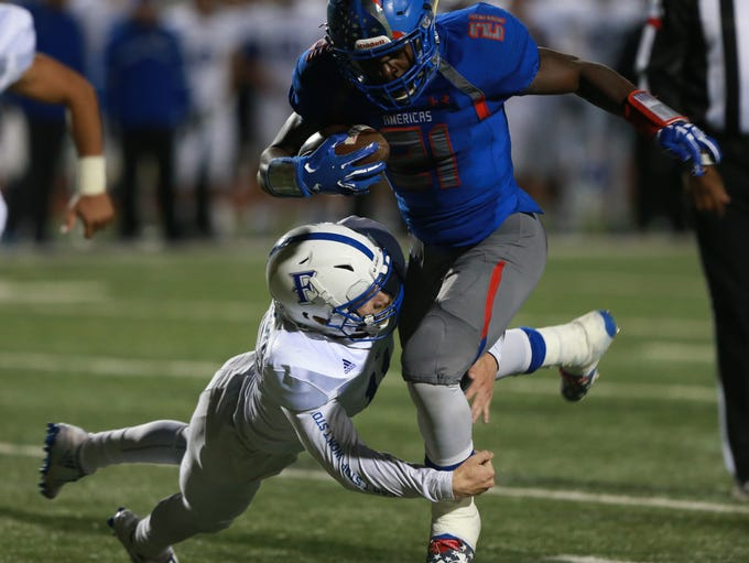 Americas' Joshua Fields heads to the end zone as Frenship's