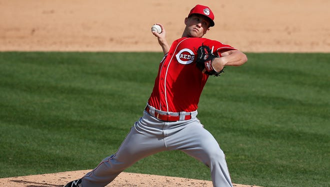 Cincinnati Reds relief pitcher Layne Somsen (86) delivers a pitch in the bottom of the seventh inning of the MLB Preseason exhibition game between the Pittsburgh Pirates and the Cincinnati Reds at Victory Field in Indianapolis on Saturday, April 2, 2016. The Reds defeated the Pirates 13-6 in the final game of Spring Training.