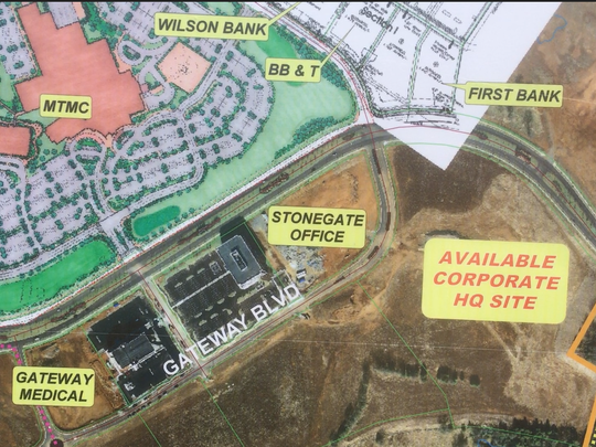This map that's on a for sale sign shows where a corporate headquarters is available in the Gateway area on the south side of Medical Center Parkway in Murfreesboro.