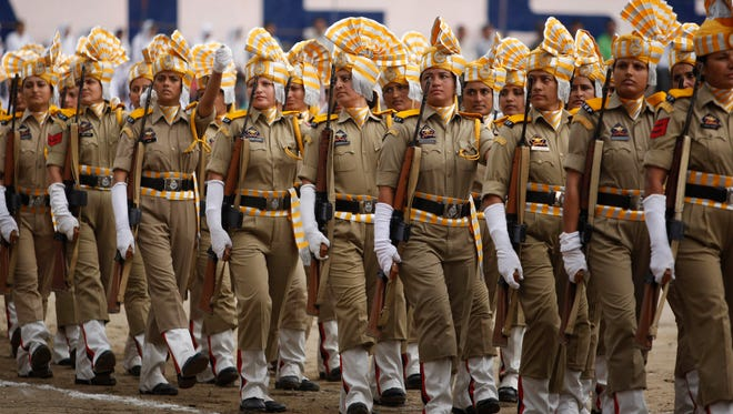 Police march on the occasion of 69th anniversary of India's independence from British rule in Jammu, India, on Aug. 15, 2015.