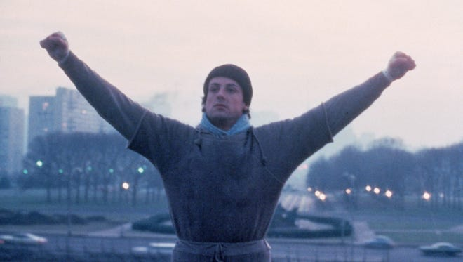 """Sylvester Stallone in the famous step scene from 1976's """"Rocky"""" which is part of the """"Rocky: Heavyweight Collection."""""""