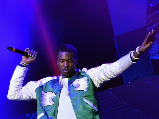 Meek Mill performs during V-103 Live Pop Up Concert