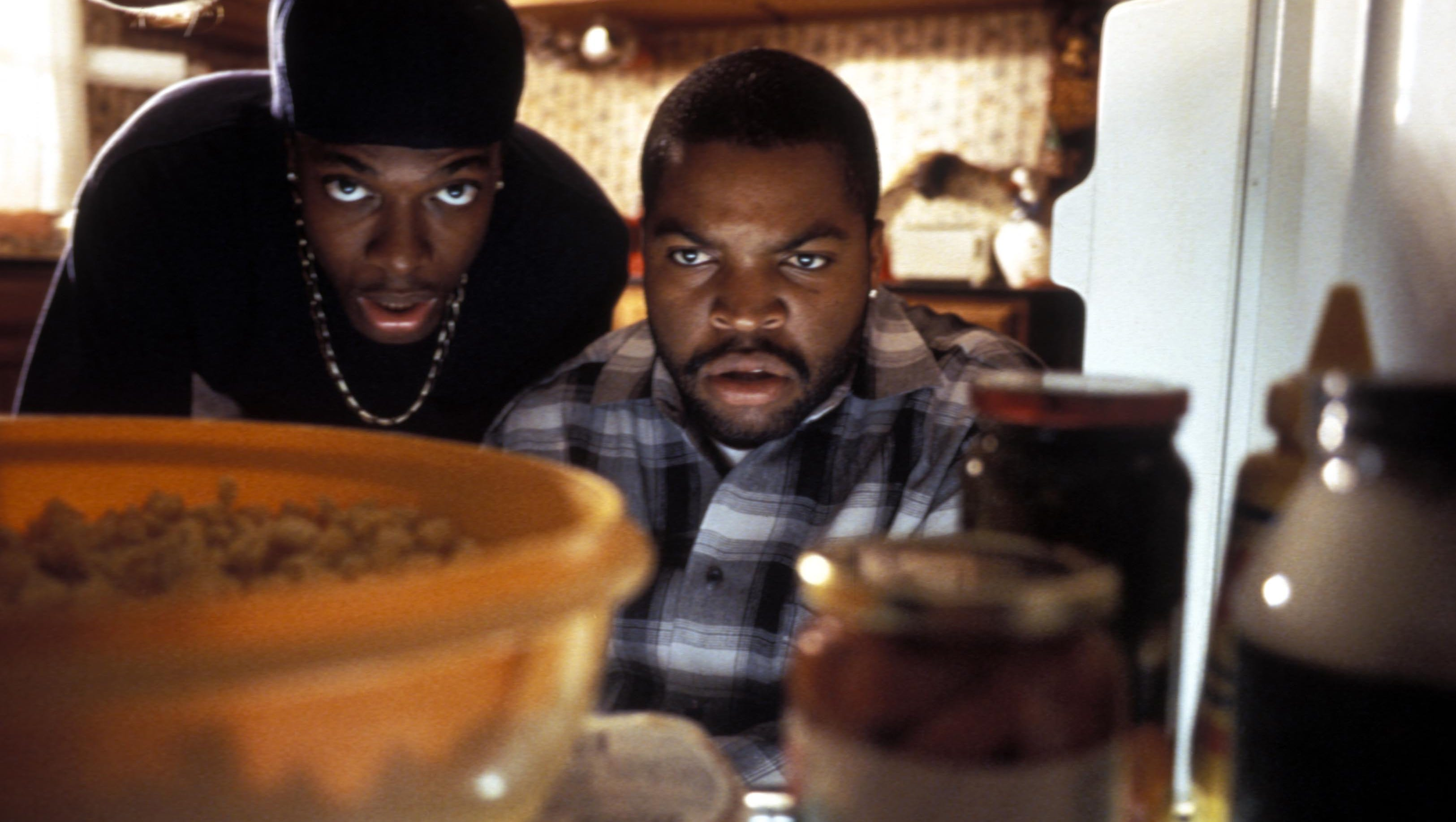 "Chris Tucker, left, and Ice Cube in a scene from ""Friday."""