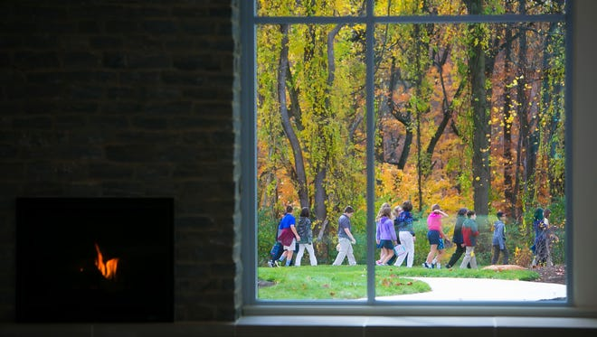 Students enjoy the outdoor classroom space on their first day at the newly completed The Pilot School, which sits on a 50-acre property bounded on two sides by the Brandywine Creek State Park.