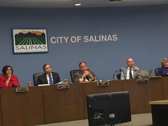 Salinas' City Council and city officials at Tuesday's council meeting.